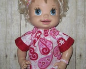 Snackin Sara Baby Alive Doll Clothes  Heart Valentine Set  Fits 16 Inch Doll Clothes Handmade Made in USA