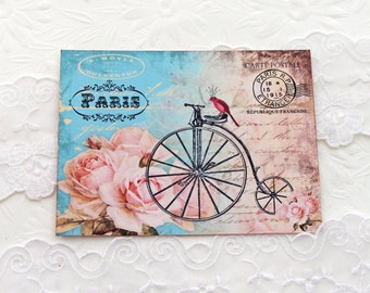 Bicycle Note Cards, Blank Note Cards, Large Flat, Paris Vintage, Crown Bird, Carte Postale, Tour de France, French Cards, Handmade Australia