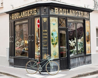Paris Photography, boulangerie bike stop, Paris, France, Paris bakery in the marais, paris wall art, paris decor, paris bike photo