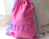 Pink Flapper Keepsake Drawstring Bag - Handmade, Hand Embroidered Beaded OOAK - Small Travel Tote, Tarot Bag, Free US Shipping, Fully Lined