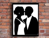 Custom Cut Wedding Silhouette - Various Sizes -  Just e-mail me your photo and I do the rest - Perfect Engagement Gift