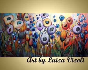 "Flowers 48"" Abstract Painting Original Art Whimsical Large Artwork HAPPY MORNING  by Luiza Vizoli"