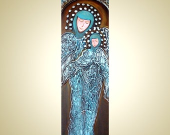 Sale MOTHER and CHILD Abstract Modern Icon on Wood Blue Turquoise colors Christmas Angels 8x24 Painting