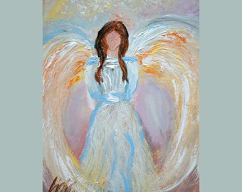 sale Original Painting Abstract ANGEL in Soft pastel colors , Impasto Oil on Canvas
