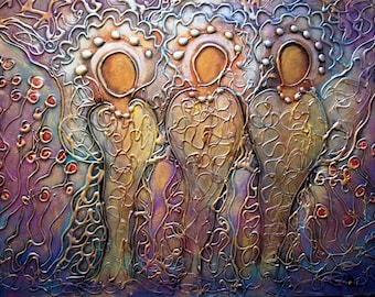 Three Wise Men Original Abstract Religious Painting, Three Magi, Christmas Story by Luiza Vizoli