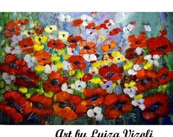 "SALE Art Canvas painting 36"" Oil Original Large Painting Modern Art on Canvas signature floral oil impasto poppies"
