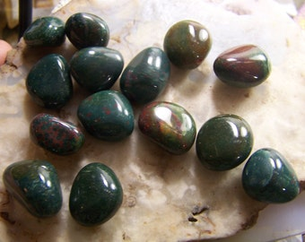 Bloodstone stone  at random - small medium 1/2 to 3/4  inch - tumbled polished wire wrap supply - India - green red stone  green red jasper