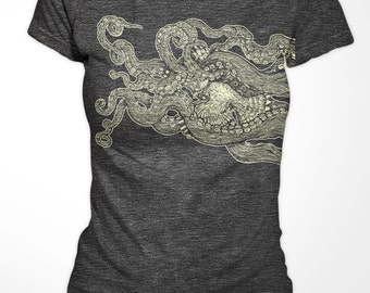 Womenst T-shirt - Bird with Tentacles - American Apparel