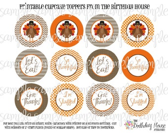 INSTANT DOWNLOAD - PRINTABLE Party Rounds - Thanksgiving Turkey Cupcake Toppers by The Birthday House