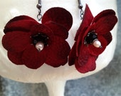 Gothic Blood Red Flower Earrings - Crimson Silk Flowers with Pearls and Black Crystal on Gunmetal Wire