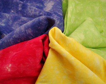 "Red, Purple, Green, Yellow Silk Fabric Bundle, Silk Material for Embroidery 14"" by 9"" Spring Bouquet"