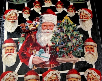 Vintage German Scrap With Santa Claus, Christmas Tree, Christmas Bells, Page In Mint Condition