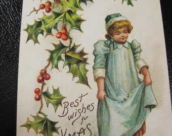 Vintage Christmas Postcard, Young Girl Feeding Birds, Holly, Embossed, German