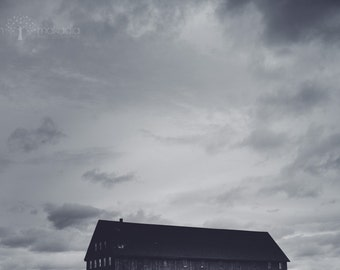 barn photograph, lone barn, home art, landscape, clouds and wind, black and white photo, lookout farm, natick