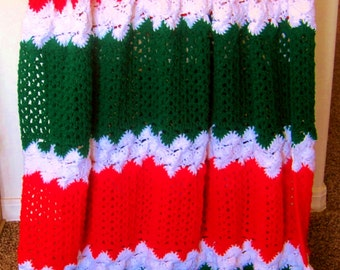 Crocheted Christmas Afghan - Holiday Delight