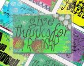 Instant download.  eight handrawn whimsical ATCs..... A4 DiGiTaL CoLLaGe JoUrNaL ImAgEs