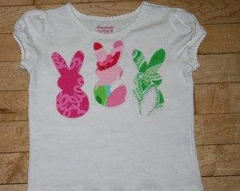 Girls top made with Bunnies in assorted Lilly Pulitzer fabric