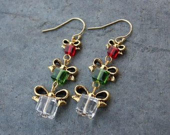 Fern green, cherry red and crystal Christmas present earrings - 14k gold filled hooks - made w/ Swarovski crystals - free shipping USA