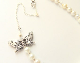 Pearl and Crystal Statement Necklace with Butterfly Accent, Wedding Jewelry, Bridal Necklace, Bib Necklace