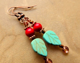 Turquoise Carved Leaf and Red Magnesite with Copper Earring, Dangle Earring, Fall Earring, Red and Turquoise, Native Inspired, Handcrafted