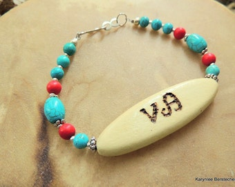 Tribal Bracelet, Cherokee Language, Peace Jewelry, Turquoise Jewelry, Turquoise and Red, Handcrafted Jewelry, Gemstone Jewelry, Native Style
