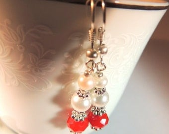 Freshwater Pearl and Red Czech Glass Earrings, Dangle Earrings, Red and Silver, Handcrafted Jewelry, Pearl Jewelry, Red and White