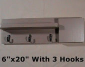 Mail Organizer - 3 Hook Coat Rack - Letter Holder - Mail Holder - Key Hooks - Shelf