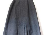 Vintage Dark Gray Wool Semi-Pleated Knee Length Skirt Size 10