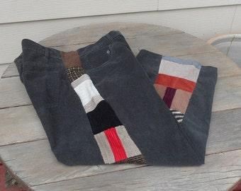 Patchwork pants mens 37 waist  / dark charcol gray / corduroy / long / pockets / hippie / waist 37