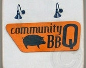 Community BBQ, Decatur,Georgia. Landmark Marble Stone Coaster. Mix and Match With My Other Coasters To Make A Set