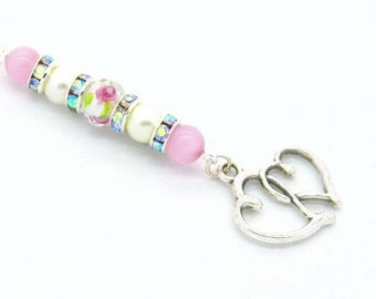Rear View Mirror Charm/Car Vent Charm - Entwined Silver Hearts with a Pink Rose Lamp Work Bead, Pink Cat's Eye Beads &  Pearls  C 230