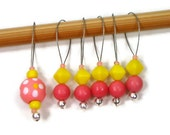 Beaded Stitch Markers Snag Free Peach Yellow Orange Snagless DIY Knitting Supplies Gift for Knitter Craft Supplies