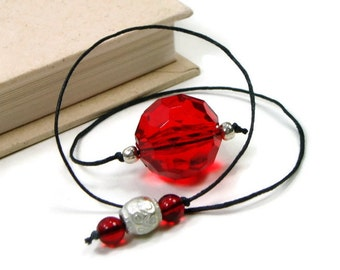 Book Thong Beaded Bookmark Red Silver Book Cord String Bookmark Gift under 5 Book Club Teacher Gift