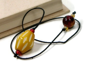 Book Thong Beaded Bookmark Book Cord Book String Gift under 5 Fiery Red Mustard Yellow Teacher Gift Book Club Bible Bookmark Cookbook