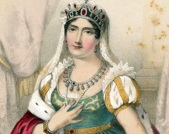 1857 Antique Chromolithograph of Josephine, First Wife of Napoleon