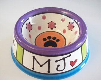 Feed your Dog in Style - PERSONALIZED Custom Dog Bowl - RAINBOW  MEDIUM