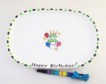 Ceramic Signature  Plate for BIRTHDAY CHEER