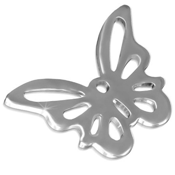 "10 - 1mm Hole Tiny Butterfly 316L Surgical Steel Dangle Charms .39"" x .59"" or 1 cm x 1.40 cm 20 Gauge with a 1mm Hole - 10 Charms"