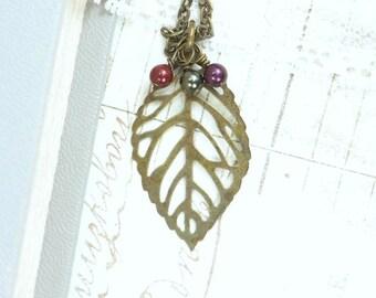 Large Leaf Necklace Autumn Leaf Jewelry Fall Necklace Leaf Jewelry Large Leaf Pendant Woodland Necklace