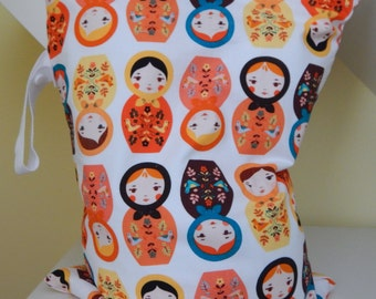 Large Wet Bag with Zipper and Waterproof Lining by Baby Ellie Designs