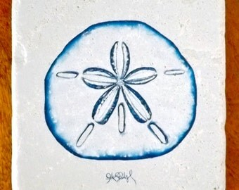 "Sand Dollar Coaster, 4""x4"" Giclée on Stone, by Jennifer Jones Rashleigh at Cédian Painting"