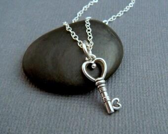 silver key necklace. heart key. heart jewelry. small skeleton key. scroll key. sterling. victorian key heart necklace. dainty. key pendant
