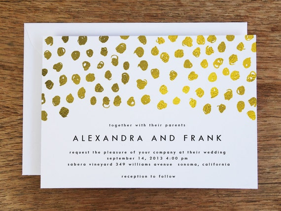 Printable Wedding Invitations Gold Dots Gold Dot Printable