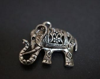 Large Detailed Antique Silver Tibetan Elephant 3D Charm Pendants - 3 pieces