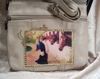 Beige or Cream Leather Crossbody Purse with a Vintage Horse Scene,  Amber  Rhinestones