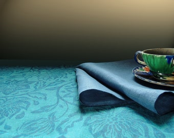 Teal and dark blue Passionflower linen hand block printed table runner and coordinating napkins