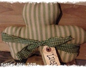 Primitive Homespun Ticking Grungy Shamrock--Bowl Filler--Tuck--Pillow--with Grungy LUCK Tag