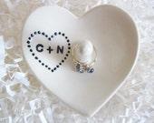 White heart wedding ring holder, engagement gift, his and hers, Ceramic ring holder, Custom ring dish gift