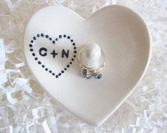 Ring dish, ring holder, Antique White heart wedding ring holder, ceramic engagement gift, initial ring holder,