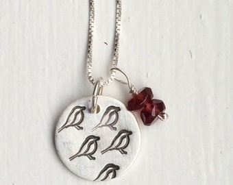 Bird stamped sterling silver charm necklace